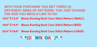 Burning Bush Size Chart Moses Burning Bush Cross Stitch Pattern Look Download