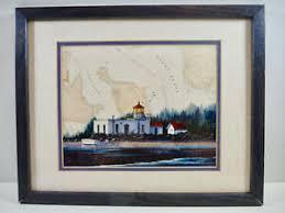 Details About Betty Vestuto Pt No Pt Washington Lighthouse Framed Art Nautical Chart Beach