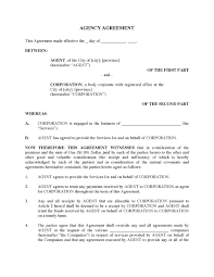 Business Agency Agreement Template Canada Agency Agreement Legal Forms And Business Templates 23