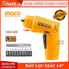 Máy bắn vít cầm tay INGCO CSDLI0402 Tặng kèm 10 mũi siết vít 25mm, 1 mũi  từ, 1 cục sạc. Máy siết vít mini dùng pin Lithium 4V đầu lục giác 1/4