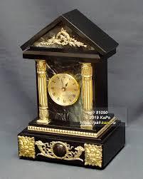 """Часы из <b>офиокальцита</b> и долерита """"Домик"""""""
