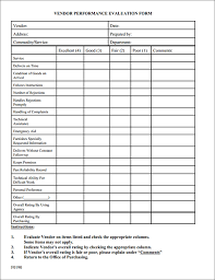 Supplier Performance Evaluation Form Template Best Photos Of ...