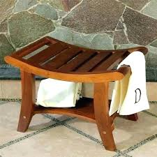 teak shower stool corner wood shower stool small teak bench corner seat with handles medium size