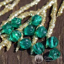 pumpkin spacer beads small green clear green melon glass czech round beads czech glass round beads czech bead czech glass spacer