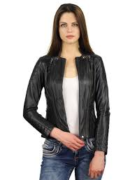 leather las biker jacket with round stand up collar leather