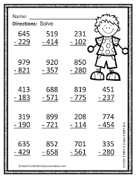 3rd Grade Go Math 1.10 Color By Numbers Subtract Multi-Digit ...