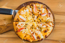 Tropical Seafood Pizza On Wooden ...