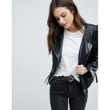 asos leather biker jacket with shoulder pads asos black 8622621 women casual jackets zrcvstu