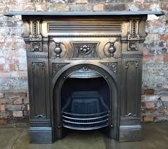 antique original late victorian early edwardian combination fireplace in polished cast iron