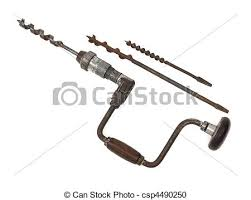 auger hand drill. stock photo - vintage hand drill with auger bits n