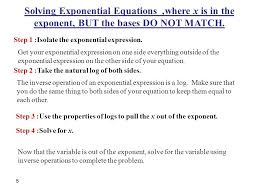 solving exponential equations where x is in the exponent but the bases do not