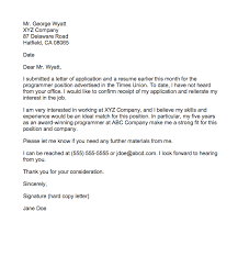 Follow Up After Application Sample Follow Up Letter For Job Application Status Top Form