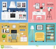 Types Of Interior Design Set Of Cute And Colorful Graphic Interior Design Room Types