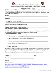 Fillable Online Sanantonio Alarm Bpermitb Fee Waiver Certification