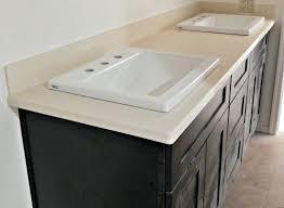 silestone bathroom vanity haiku quartz remodel with flat polish edge top mount sinks and 4 inch