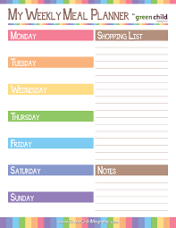 weekly menue planner weekly meal planner free printable