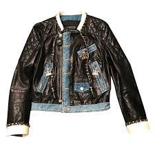 dsquared2 biker jacket biker jackets leather denim black ref 39205