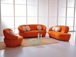 FURNITURE Orange Furniture For Curved Sectional Sofa With Brown
