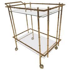 bamboo bar cart. Mid-Century Modern Hollywood Regency Style Brass Faux Bamboo Bar Cart For Sale