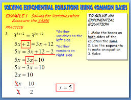 solving exponential equations solving exponential equations using common bases