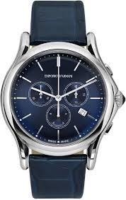emporio armani swiss chronograph blue leather strap watch 44mm ars4010