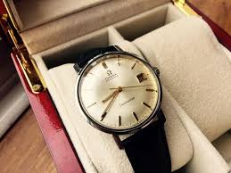 omega mens seamaster automatic date leather strap gents steel cal 563