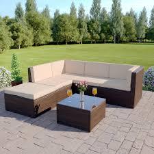 6 piece barcelona modular corner sofa set in brown with light cushions