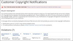 Copyright Infringement Copyright Violation Notifications In My Account