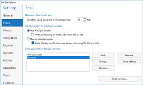 How To Use Email How To Use The Email Tab In Winzip Options Winzip Knowledgebase