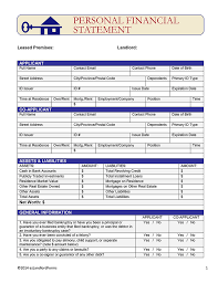 Personal Financial Statement Form Stunning Free Rental Lease Application Forms EZ Landlord Forms