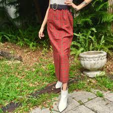 Designer Plaid Skirt Vintage Red Black Plaid Wool Designer Maxi Skirt Depop