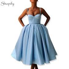 Short Formal Light Blue Dress Simple Light Blue Short Evening Dress 2019 Sweetheart Spaghetti Strap Puffy A Line Arabic Style Women Formal Evening Gowns