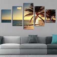 image is loading 5 panel canvas wall art painting set coconut  on 5 piece canvas wall art trees with 5 panel canvas wall art painting set coconut tree pictures hanging