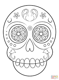 Small Picture Day of the Dead Sugar Skull coloring page Free Printable