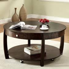 dark brown classic solid wood round coffee table sets design with