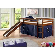 bunk bed with slide and desk. Donco Kids Twin Tent Loft With Slide And Slat-Kits Light Espresso, Blue Bunk Bed Slide Desk