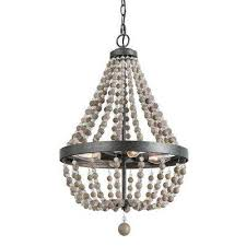 4 light black 16 in wood bead empire bohemian lighting chandelier