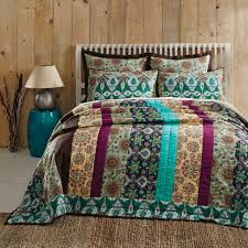 5pc capri bohemian fl print cotton quilt shams euro bed set vhc brands queen