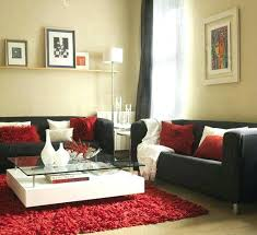 red and black living room white curtains rug