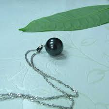 single black pearl pendant necklace and earring set