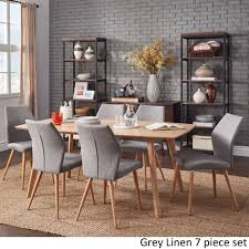 Abelone Scandinavian Oak Dining Set by MID-Century Living ([6PC Set]- Gray  Linen ( w/ 4 chairs + 1 Bench)), Grey, Size 6-Piece Sets