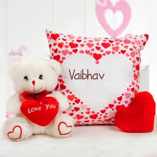Beautiful Sweet Teddy Bear With Love You Name Vaibhav Print Picture Impressive Love Pics With Name Edit