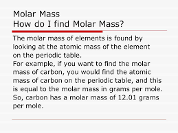 Molar Mass Chemistry 11 Ms. McGrath. Molar Mass Molar mass (M) is ...