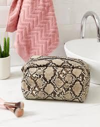 new look women s oversized snake print makeup bag