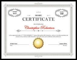 Printable Stock Certificate Free Download