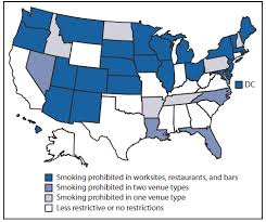 state smoke laws for worksites restaurants and bars  the figure shows state smoke indoor air laws in effect for private worksites