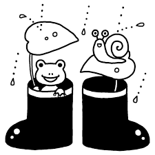 長靴白黒梅雨6月の無料イラスト夏の季節行事素材 梅雨の白黒