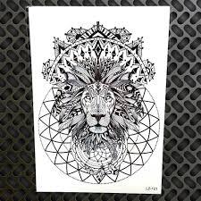 черная индийская хна племенной лев король водонепроницаемые наклейки татуировки