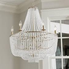 clear hanging beads six light chandelier