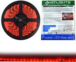 Red Tape Light Hitlights Weatherproof Red Led Light Strip 3528 300 Leds 16 4 Feet 12v Dc 72 Lumen Per Foot Ip 65 Adhesive Backed For Easy Installation Led